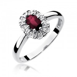 Prsten s rubínem a diamanty W-304
