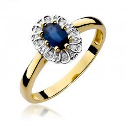 Prsten se safírem a diamanty W-304
