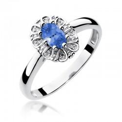Prsten s tanzanitem a diamanty W-304