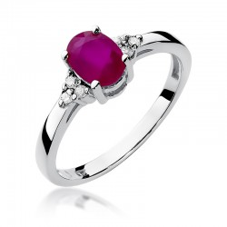 Prsten s rubínem a diamanty W-308