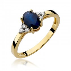 Prsten se safírem a diamanty W-308
