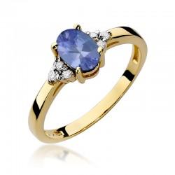 Prsten s tanzanitem a diamanty W-308