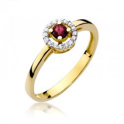Prsten s rubínem a diamanty W-238