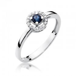 Prsten se safírem a diamanty W-238