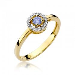Prsten s tanzanitem a diamanty W-238